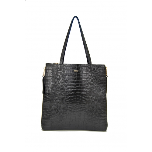 Zeus Shopping Shoulder Bag in Crocodile print Leather